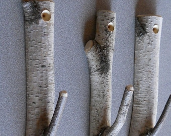 Set of 3 Birch Branch Hooks Rusic Natural Home Decor