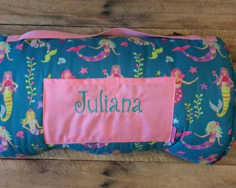 Personalized monogram Stephen Joseph girl mermaid print nap mat/kindergarten mat
