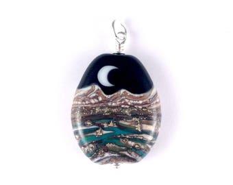 "Pendant ""Turquoise Streams"" Handmade Lampwork Art Glass Bead Landscape"