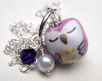 Back to School Girls Owl Jewelry Purple Owl Necklace Kids Jewelry Gift for Girl