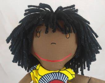 Handcrafted Rag Doll, African American Rag Doll,Removable Clothes,Fabric Doll, Stuffed Doll,Cloth Doll,Rag Dolls,Original Rag Doll,