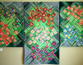 art quilt, abstract quilt, wall hanging, wall decor- Hydrangeas triptych