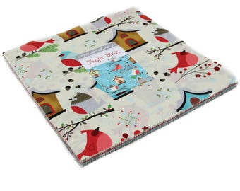 "Jingle Birds Layer Cake by Keiki for Moda Fabrics 33250LC 42 10"" Fabric Squares"