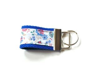 Mini key fob, blue, floral fob, key finder, sweet 16 gift, fabric key fob, finger key chain, key keeper, key holder, gift for her