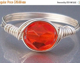 25% Off Sale Citrus Orange Czech Glass Argentium Sterling Silver Or 14k Gold Filled Wire Wrapped Ring