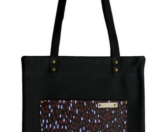 SALE - Leather Tote in Black with Elongated Spot in Autumn Red & Lilac