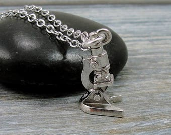 Microscope Necklace, Silver Lab Microscope Charm on a Silver Cable Chain
