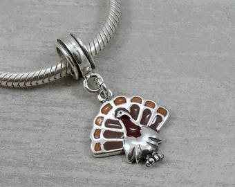 Sterling Silver Turkey European Dangle Bead Charm, Turkey Charm, Thanksgiving Charm, Large Hole Bead, Big Hole Bead, Thanksgiving Jewelry