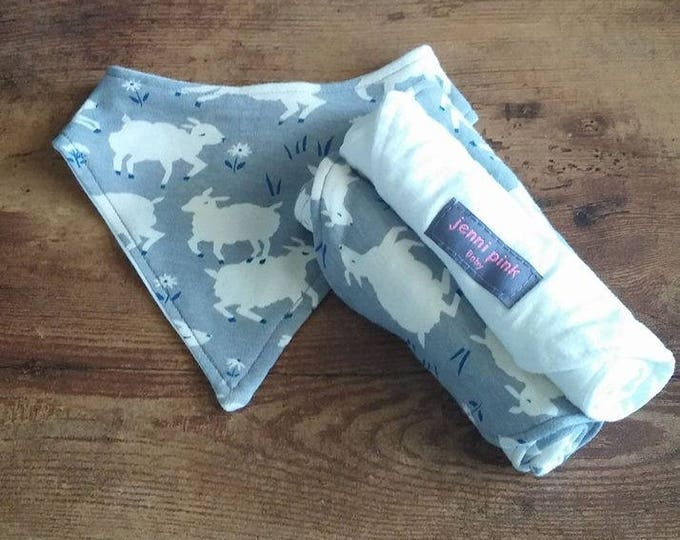 Gray sheep Bandana Bib Gift Set