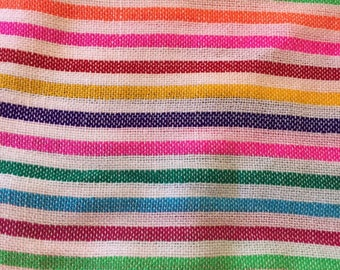 Ethnic Mexican Colorful White Stripes Serape Sarape Fabric Yard Tribal