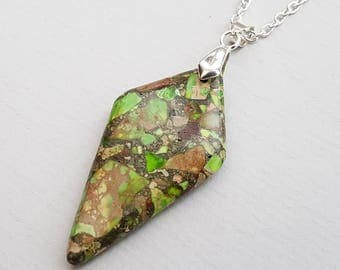Dark Lime Green Jasper Necklace, Geometric Necklace, Diamond, Marbled Green Stone Necklace, Silver Chain
