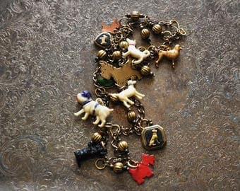 Who Let the Dogs Out Charm Necklace - Vintage Assemblage