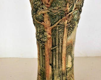 "1920s Arts & Crafts Pottery Vase, Weller Forest Woodcraft 12"" tall"