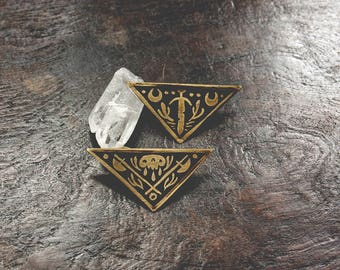 Sliced - Brass or Copper Sigil Pin - Handmade One of a Kind
