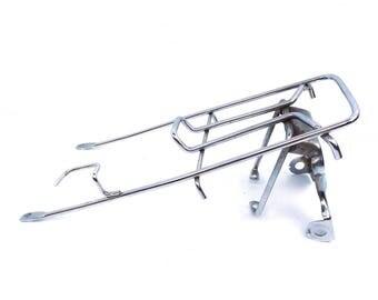 bike rack. bicycle rack. cargo rack. luggage rack. rear bike rack. vintage rack.  vintage bike rack. vintage cargo rack. metal rack. silver