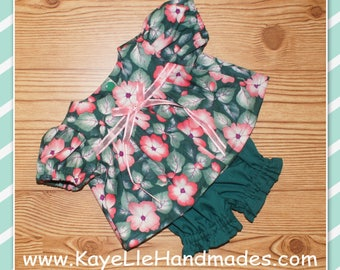 Cabbage Patch Doll Clothes - Dress and Pants - Dark Green with Pink Flowers