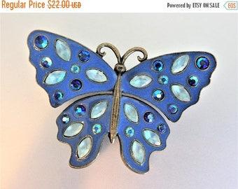 ON SALE Cute Vintage Avon Blue Rhinestone Butterfly Brooch