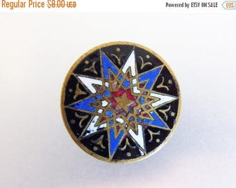 ON SALE Vintage Brass Enamal Eastern Star Collar Button