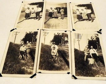6 photographs with people and telephone pole