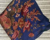 Ralph Lauren Floral Navy and Rust Silk Square Mid Century Estate Scarf Made in Japan