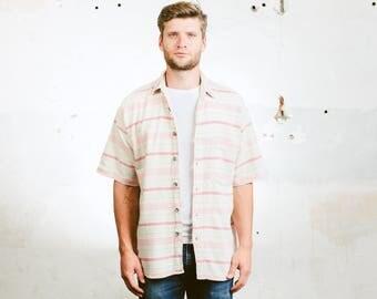 Aztec Southwestern Shirt . Mens Vintage 90s Striped Shirt Aztec White Pink Short Sleeve Button Down 90s Grunge Shirt . size Medium