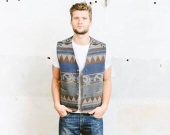 Southweatern Jacket . Men's Wool Vest Aztec Print Striped Vest Blue Geometric Waistcoat Vintage 90s Sleeveless Jacket 1980s . size Large