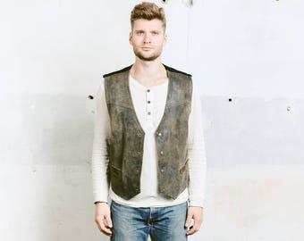 Men LEATHER Vest . Vintage Faded Black Grey Waistcoat 1980s Sleeveless Jacket Cowboy Western Biker Vest . size Extra Large XL