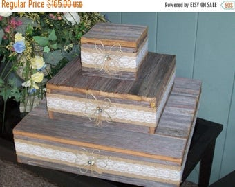 PICK ME SALE Cake Stand wedding cupcake stand reception decorations 3 tier rustic wood burlap lace wedding Reception Reclaimed Vintage Weddi