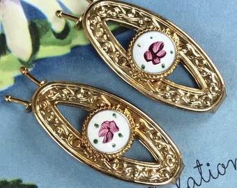 Sarah Coventry Barrette Set,Vintage,Guilloche, Gold, Enamel Rose Victorian, ornate barrettes,signed barrettes,Birthday gift,G60A