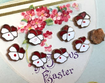 Enameled Pansy Findings, Vintage Pansies, Enamel Cabochons, 8mm cabochons, Red and white pansies, #308A