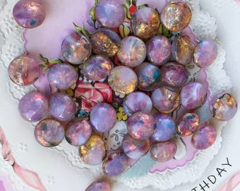 Vintage Fire Opal, Harlequin Glass 11mm Stones Shabby Pink SS48 Pink Round, shabby chic beads, rare beads, #B115