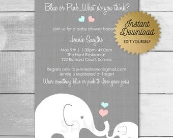 Elephant Baby Shower / Instant Download / Blue or Pink Gender Reveal / Editable / PRINTABLE TEMPLATE / 10205 bp