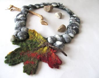 Fall leaf Felted necklace leaf scarf Autumn maple leaf Grey stones Green grey necklace unique autumn leaves jewellery, Women fiber necklace
