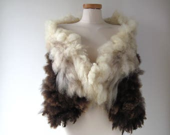 Fluffy Fur collar Curly Felted collar Brown Cream felt collar  Brown wool collar Real Fur scarf Pure Wool Fleece real fur scarf gift for her