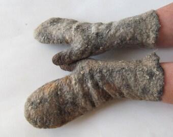 Felted gloves Hand Felted Alpaca Mittens, Grey Brown  alpaca gloves, Brown beige wool mittens, Cozy winter Gloves, Alpaca wool arm warmer
