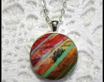 Fabric Pendant - Artsy Jewelry - Fiber Art - FP78