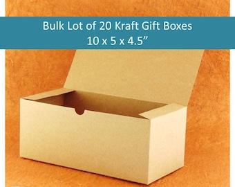 "20 Kraft Brown Gift Boxes, Bulk Lot 20x  10""  Boho Bridesmaids' Gift Boxes, Rustic Wedding Favors Gift Box Supplies"
