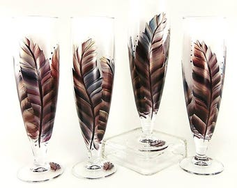 Burnished Feathers Beer Glasses  - Hand Painted Craft Beer Glasses with Feathers in Dark Red, Navy, Silver, Copper - Gifts for Beer Drinkers