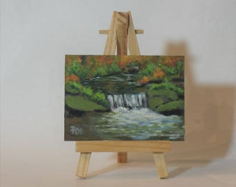 Aceo, landscape painting,  original acrylic painting, small brook