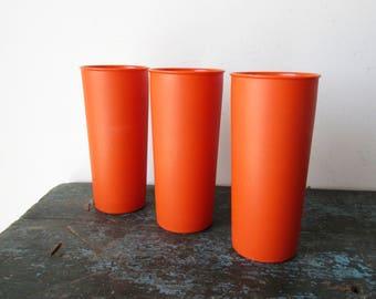 Vintage Tupperware Tumblers Stackable Set of 3 Orange #115, SALE
