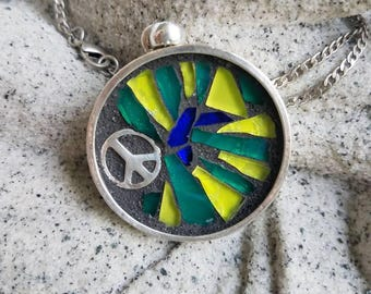 Peace mosaic pendant necklace(reserved for Julie)