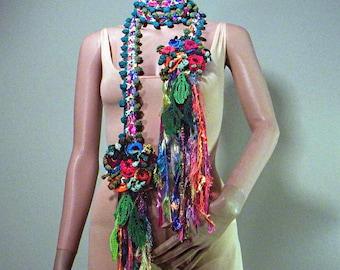 MULTICOLORED FANTASY NECKPIECE - Wearable Fiber Art Jewelry, Skinny Extra Long Scarf/Necklace/Lariat, Freeform Crocheted Flowers/Leaves