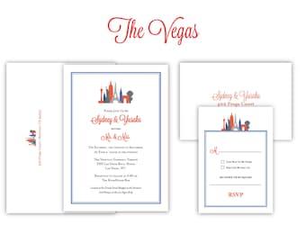 "City Theme Wedding Invitation ""The Vegas""-- (20 Invites, RSVP Cards, Envelopes) - Listing for Michele"