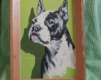 Mid Century Boston Terrier Paint By Numbers Painting, Dog PBN, Framed 1950s era