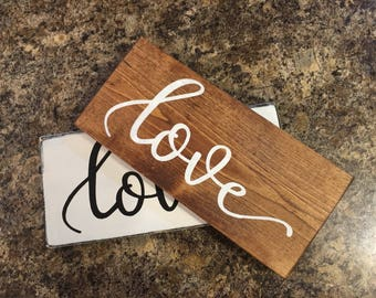 "Love,love Sign,Stained Wood Sign,Stained Wedding Sign, Rustic Home Decor, Wedding Decor, Wedding Sign,Farmhouse Decor, DAWNSPAINTING, 12""x6"""