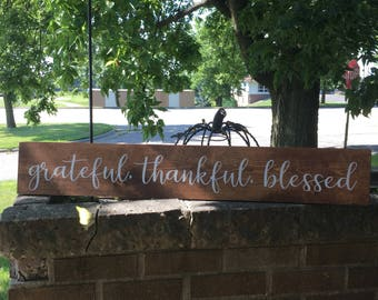 """Grateful Thankful Blessed Wood Pallet Sign Family Love Home Farmhouse Style Rustic Decor Fixer Upper-5.5""""x 36""""-Stained Sign DAWNSPAINTING"""