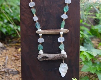 Driftwood Beachcomber Necklace w Afghan Green Fluorite and Matte Quartz Nuggets Natural Wood w Shell Dangle Rustic Ocean Beach Jewelry