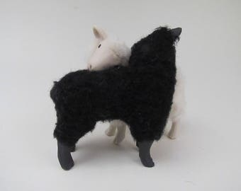 Colin's Creatures Porcelain and Wool Snuggling Black and White Lambs