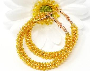 Yellow Boho Seed Bead Earrings, Seed Bead Earrings, Wire Wrap Hoops, Gold Beaded Hoop Earrings, Medium Hoops, Beach Earrings