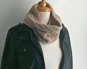 Cream Winter Cowl Scarf - Handmade Wool Scarf - Crochet Neck Scarf  - Handknit Scarf - Beige Scarf